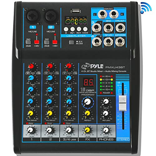 Pyle Professional Audio Mixer Sound Board Console System Interface 4 Channel Digital USB Bluetooth MP3 Computer Input 48V Phantom Power Stereo DJ Studio Streaming FX 16-Bit DSP Processor - PMXU43BT.5