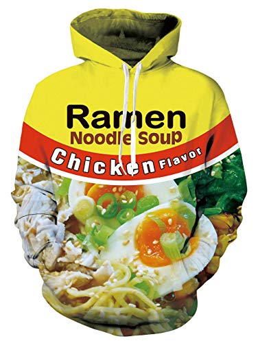 SKYRAINBOW Ramen Hooded Sweatshirt Noodle Soup Print Pork/Chicken/Beef Funny Plush Velvet Hoodies Series Loose Fit with Pockets Drawstring Casual Pullover for Women Men Teens XL Green