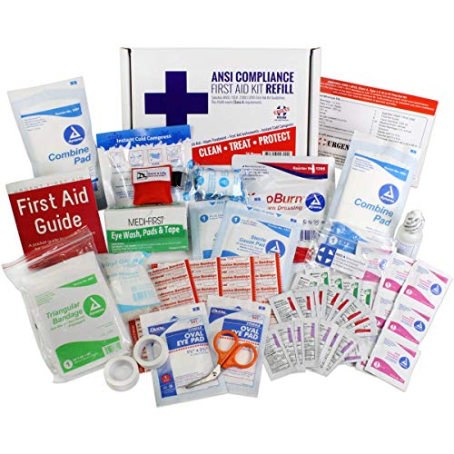 OSHA & ANSI First Aid Kit Refill/Upgrade, 25 Person, 73 Pieces, ANSI 2015 Class A for Office, Business, Home or car Boxes and cabinets: Fill Your kit or use to Upgrade to Current regulations