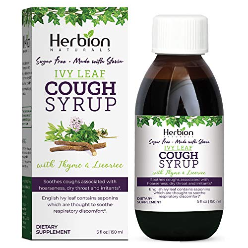 Herbion Naturals Ivy Leaf Syrup with Thyme and Licorice - Helps Maintain Respiratory and Bronchial Health, Supports Healthy Mucous Membranes, Effective for Adults and Children, 5 Fl Oz