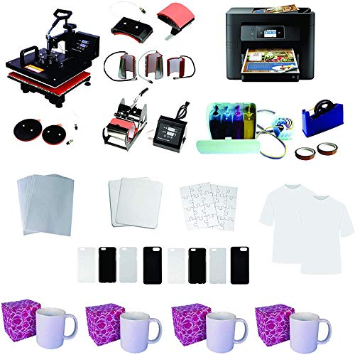 8in1 12'x15' Pro Sublimation Heat Transfer Machine WF-3720 Printer CISS KIT Package