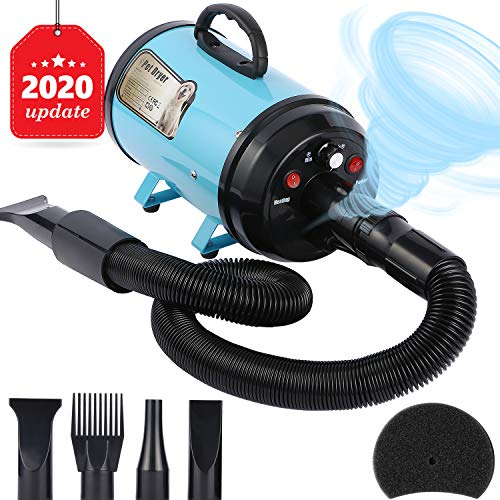 Upgraded Dog Dryer Dog Blow Dryer Dog Hair Dryer 3.2HP Stepless Adjustable Speed Pet Hair Force Dryer Dog Grooming Blower with Heater Dog Quick-Drying