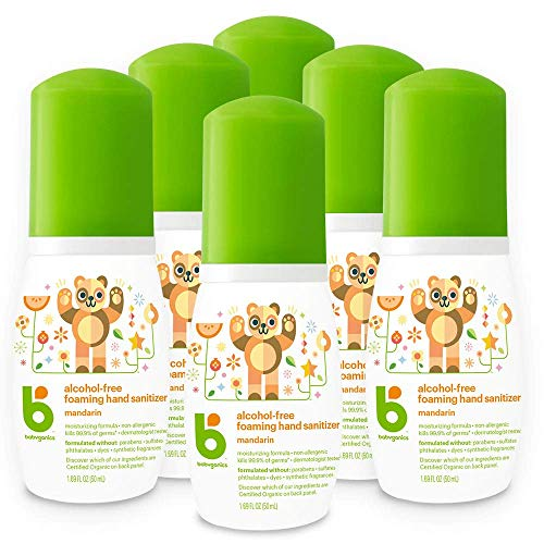 Foaming Pump Hand Sanitizer, Alcohol Free, Travel Size, Mandarin, Kills 99.9% of Germs, 1.69oz- Babyganics Pack of 6