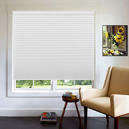 Keego Cordless Cellular Blinds for Windows, Custom Blackout Cellular Shades, 45 1/2' W x 48' H, White, Insulated Honeycomb Shades and Blinds for Home Office Bedroom Living Room