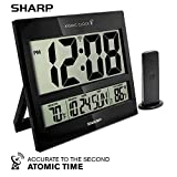 Sharp Atomic Clock - Atomic Accuracy - Never Needs Setting! - Jumbo 3' Easy to Read Numbers - Indoor/Outdoor Temperature Display with Wireless Outdoor Sensor - Battery Powered - Easy Set-Up!!