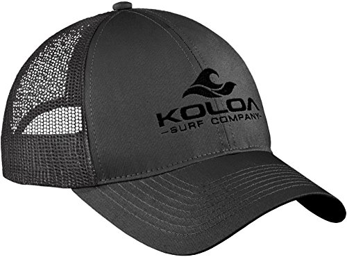 Koloa Surf Wave Logo'Old School' Curved Bill Mesh Snapback Hat-Charcoal/b