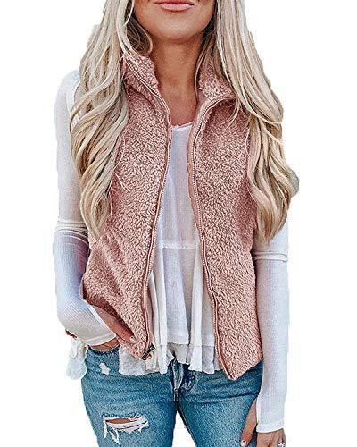 LAMISSCHE Womens Fuzzy Sherpa Fleece Jackrt Lightweight Vest Cozy Sleeveless Cardigan Zipper Waistcoat Outerwear With Pocket(Pink,M)