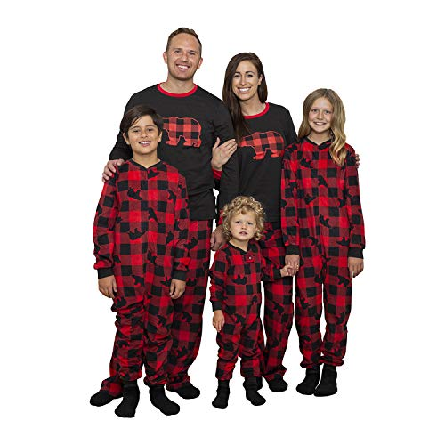 Mens 3 PC Fleece Pajama Sleep Set Buffalo Bear Family PJ Set with Slipper Socks
