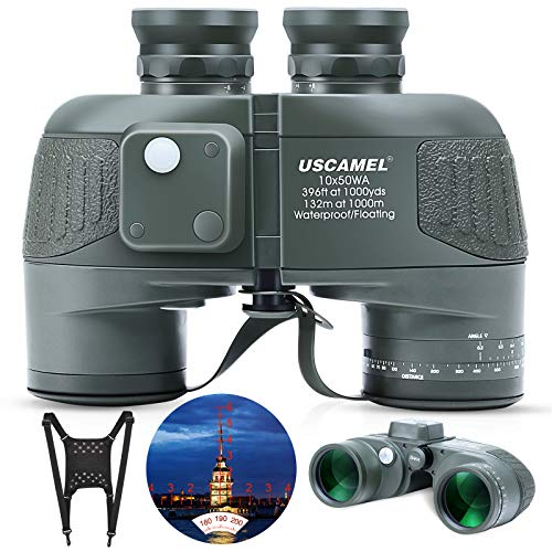 Marine Binoculars 10x50 with Rangefinder Compass for Adults - FMC Lens Waterproof Fogproof Low Light Vision Binoculars with and Harness Strap for Hunting Bird Watching Boating