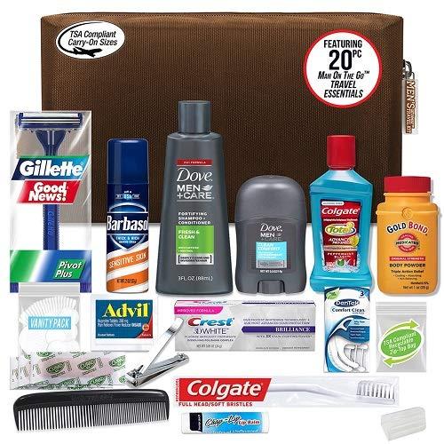 Convenience Kits International Men's Premium 20-Piece Kit with Travel Size TSA Compliant Essentials, Featuring: Dove Men & Care Products in Black Dopp Bag