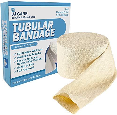 """Premium Elastic Tubular Bandage 4"""" x 12 Yards, Cotton Stockinette Size F, Tubular Stockinette for Legs and Knees, 2 Ply Cotton Elastic Bandage Wrap, Tubular Compression Bandage by JJ CARE"""