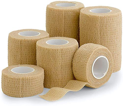 """6 Pack, Self Adherent Cohesive Tape - 1"""" 2' 3' x 5 Yards Combo Pack, (Light Tan Shade) Self Adhesive Bandage Rolls & Sports Athletic Wrap for Ankle, Wrist, Sprains"""