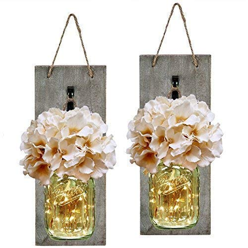 HABOM Rustic Mason Jar Wall Decor Sconces - Decorative Home Lighted Country House Hanging with LED Fairy Strip Lights and Flowers Hydrangea Farmhouse Sconce Jars (Set of 2)
