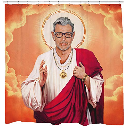 Sharp Shirter Novelty Shower Curtain Set, Cool Meme Art, Hilarious Bathroom Decor, Jeff Goldblum Fabric Curtain, Funny Religious Gift