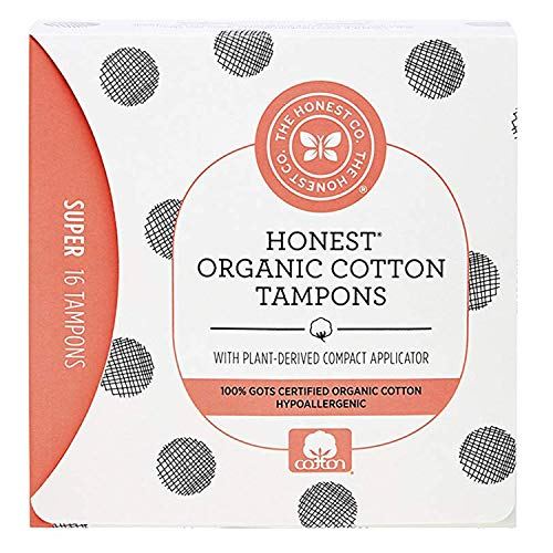 The Honest Company Organic Cotton Tampons with Plant-Based Compact Applicator | Super | Hypoallergenic & Breathable | GOTS-Certified Organic Cotton | Feminine Hygiene Products | 16 Count