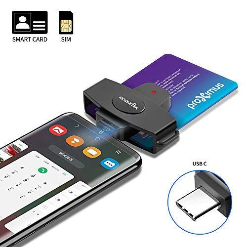 Type C CAC Card Reader Rocketek DOD Military USB-C Common Access CAC Smart Card Reader, Credit Card Reader/CAC Chip Card Reader Compatible with Android Phones, MacBook Pro, iMac, Other Type C Laptops