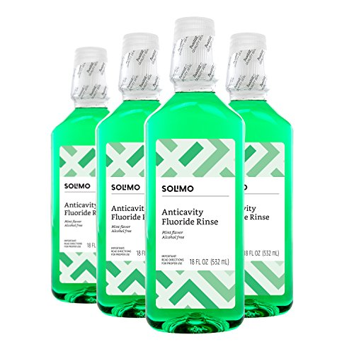 Amazon Brand - Solimo Anticavity Fluoride Rinse, Alcohol Free, Mint, 18 Fluid Ounces, Pack of 4