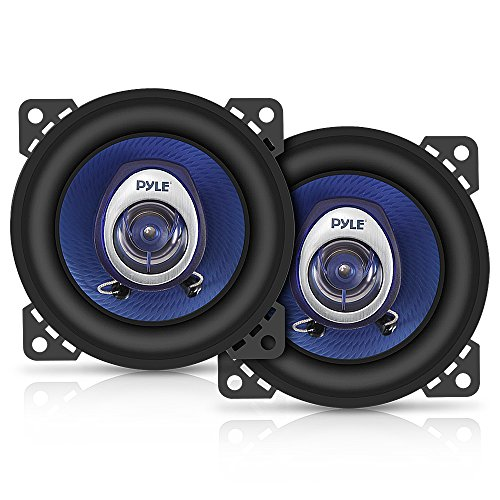 4' Car Sound Speaker (Pair) - Upgraded Blue Poly Injection Cone 2-Way 180 Watt Peak w/ Non-fatiguing Butyl Rubber Surround 110 - 20Khz Frequency Response 4 Ohm & 3/4' ASV Voice Coil - Pyle PL42BL