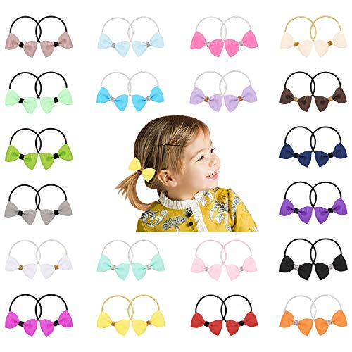 Angla 40 Pieces Sequin Glitter Sparkly Knotted Bowknot Hair Ties Bows Hairbands Elastics Stretchy Rubber Slim Headbands Scrunchies Ring Loop Ponytail Holder Accessories for Baby Infant Toddler Kids Girl, 20 Pairs, Small