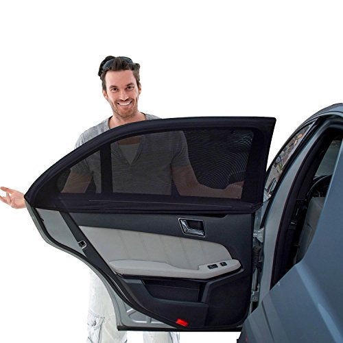 Tuoro Car Side Window Sun Shade - Car Sunshade Protector - Fit Big Winow Slip On Stretchable Mesh Protective - Protect Your Kids and Pets in The Back seat from Sun Glare and Heat - 2 Pack