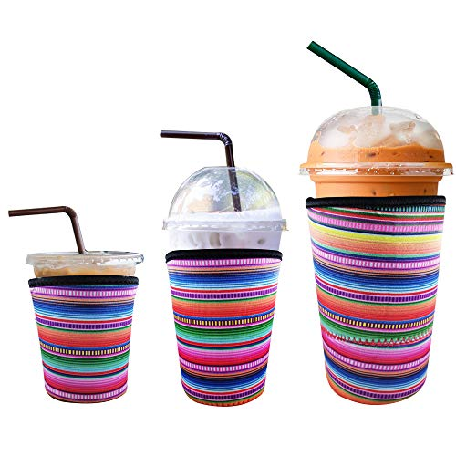 3 Pack Reusable Iced Coffee Sleeve | Insulator Cup Sleeve for Cold Drinks Beverages | Neoprene Cup Holder | Ideal for Starbucks, Dunkin Donuts & More (Rainbow)