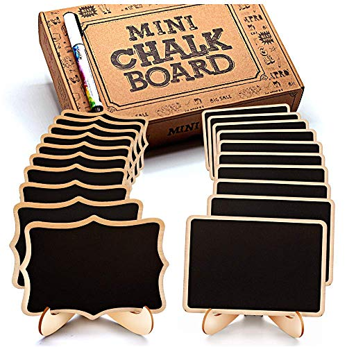 Mini Chalkboard Signs, 20 Pack Framed Small Chalkboard Labels with Easel Stand, Wooden Blackboard for Table Numbers, Food Signs, Wedding Signs, Message Board, Place Cards and Event Decorations