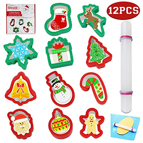 Christmas Cookie Cutters Set, 11 PCS Stainless Steel Biscuits Holiday Cutter Molds with Comfort Grip, 1PC Rolling Pin for Xmas Holiday Party - Snowflake, Snowman, Christmas Tree, Reindeer Shapes