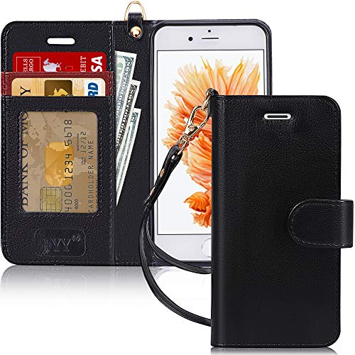 FYY Case for iPhone 6S / iPhone 6 (4.7'), [Kickstand Feature] Luxury PU Leather Wallet Case Flip Folio Cover with [Card Slots] [Wrist Strap] for iPhone 6S (4.7')(2015) /iPhone 6 (4.7')(2014) Black