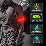 Ezer LED Armbands, Pack of 2 PCS Glowing Event Wristbands with Elastic Band, Light Up Reflective Running Gear Flashing Arm Bands, for Runners, Joggers, Cyclists (Red)
