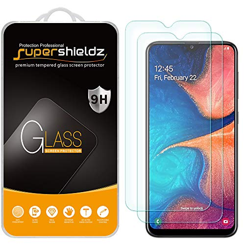 (2 Pack) Supershieldz Designed for Samsung Galaxy A20 (Not Fit for Galaxy S20) Tempered Glass Screen Protector, Anti Scratch, Bubble Free