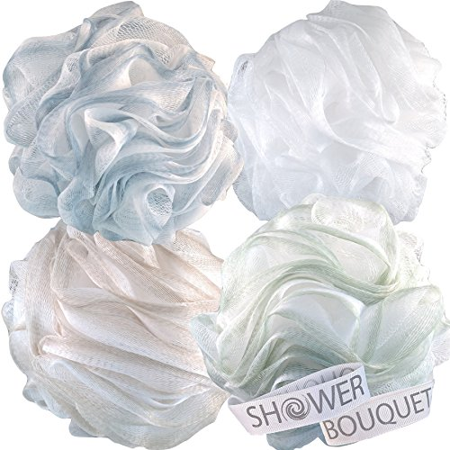 Loofah Bath Sponge XL 75g Soft Set by Shower Bouquet: 4 Pack Pastel Colors - Extra Large Mesh Pouf Scrubber for Men and Women - Exfoliate with Big Lathering Cleanse