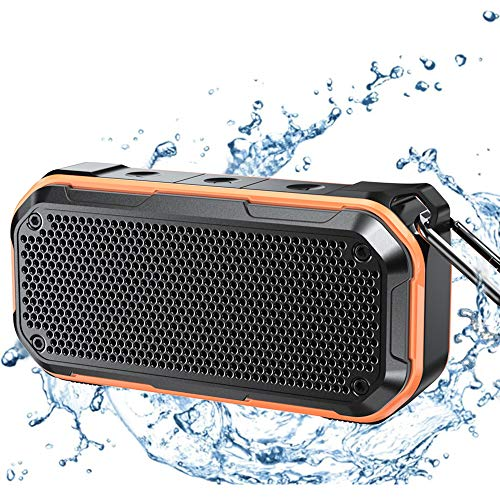 Waterproof Bluetooth Speaker, IPX7 Waterproof Speaker Bluetooth Wireless Outdoor Portable Speakers TWS Stereo Rich Bass 12H Playtime with Microphone for Shower Bath Pool Boat Beach Home Party Travel