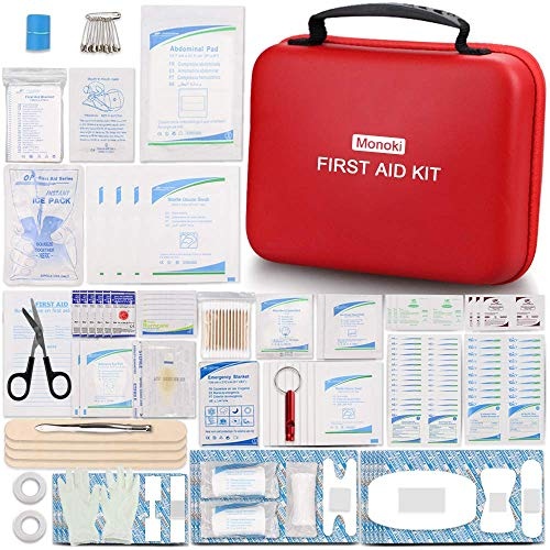 Monoki First Aid Kit, 350 Pcs Emergency Safety First Aid Kit Medical Supplies for Home, Office, School, Car, Boat, Travel, Camping, Hiking, Sports, Adventures