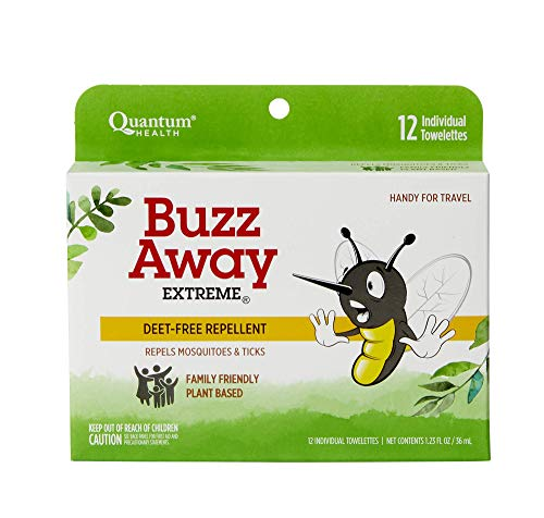 Quantum Health Buzz Away Extreme Towelettes - DEET-free Insect Repellent Wipes, Essential Oils - Pop Up Dispenser, Small Children and Up, 12 Count (Pack of 4)