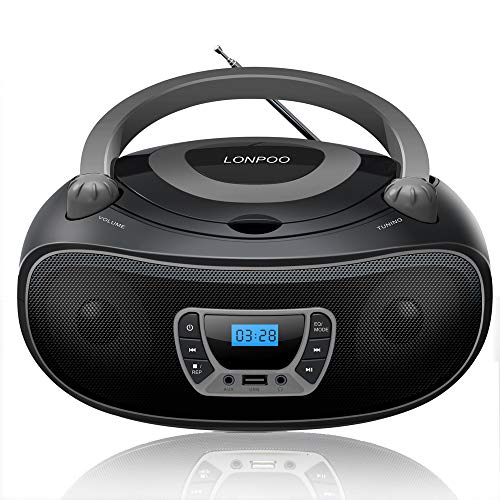 LONPOO Portable CD Player Boombox Stereo Radio with Big Knob, Support Bluetooth, FM Turner, USB Input/ AUX-in/ Earphone Jack (Black)