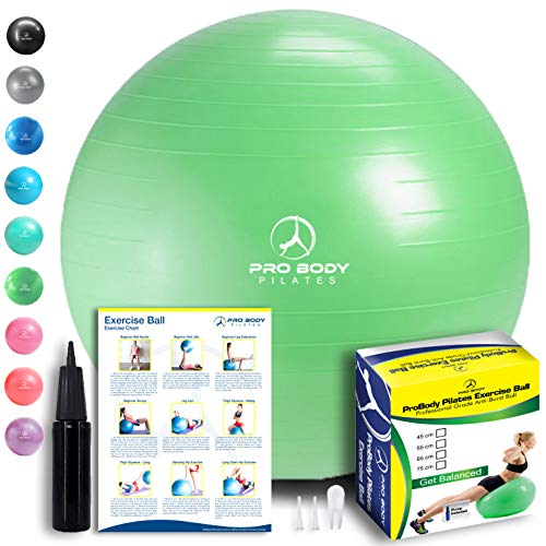 Exercise Ball - Professional Grade Anti-Burst Fitness, Balance Ball for Pilates, Yoga, Birthing, Stability Gym Workout Training and Physical Therapy (Green, 75 cm)
