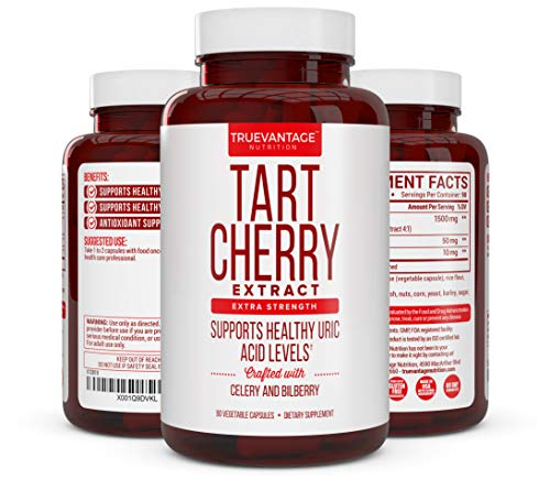 Tart Cherry Extract 1500mg Plus Celery Seed and Bilberry Extract -Anti Inflammatory, Antioxidant Supplement, Uric Acid Support, Muscle Recovery and Joint Pain -90 Veggie Capsules…