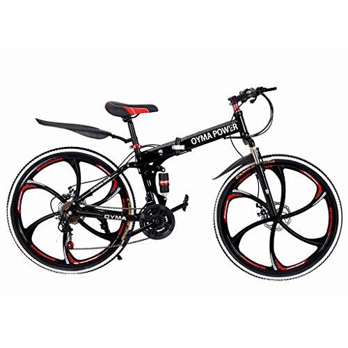 26in Folding Mountain Bike 21 Speed Bicycle Full Suspension MTB Bikes LARNOR Bikes for Men/Women (Black-2)