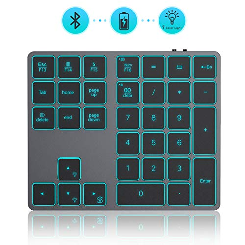 Wireless Bluetooth Backlit Numeric Keypad, Jelly Comb Rechargeable Number Pad with 34 Keys for PC/Laptop/MacBook/iMac/Surface Pro, Win/Mac OS, Space Gray