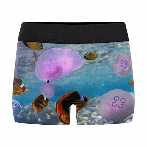 InterestPrint Boxer Briefs Men's Underwear Transparent, Glow in The Dark Jellyfish M