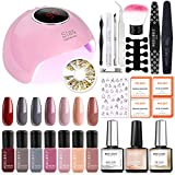 Gel Nail Polish Kit with UV Light Starter Kit Modelones Gel Polish Set- 7 Colors with 10ml Nail Primer and Base Top Coat, 36W Nail Lamp with Upgraded Manicure Tools
