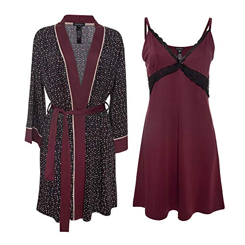 Nanette Lepore 2 Piece Womens Chemise with Robe - Nightgown and Robe Travel Pajama Set Wine Large