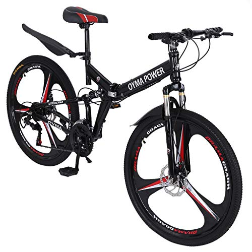 Aleola Outroad Mountain Bike for Adult Teens, 26 Inch Bike Mountain Bikes 21 Speed Folding Bicycle Full Suspension MTB Bike for Men/Women (Ship from US,2-5 Days)