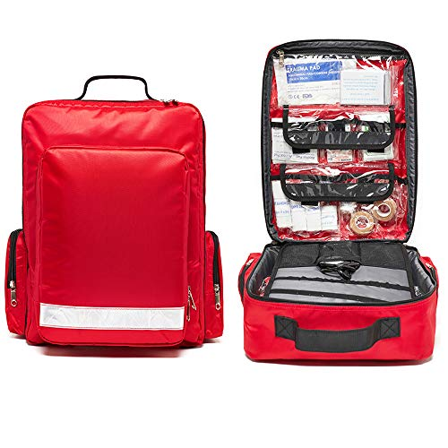 First Aid Bag Empty Red Trauma Backpack for First Responder EMS EMT Medical Medic Emergency Treatment Equipment Supplies School Hiking Camping Home Car Sports Outdoor Storage Organizer