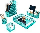 Blu Monaco 5 Piece Dark Teal Desk Organizer Set - Desk Organizers and Accessories for Women - Teal Desk Accessories - Desktop Organization