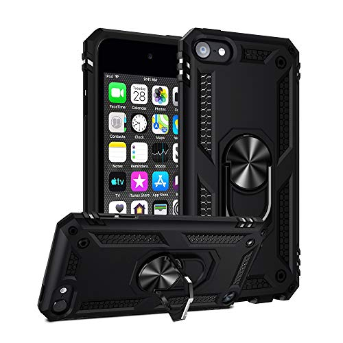 ULAK iPod Touch 7 Case, iPod Touch 6 Case, Hybrid Rugged Shockproof Cover with Built-in Kickstand for Apple iPod Touch 7th/6th/5th Generation (Black)