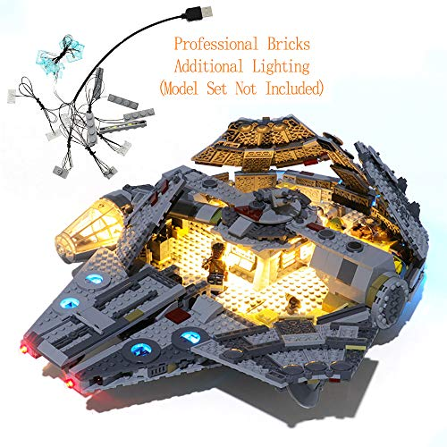 GEAMENT Blocks Light Kit for Star Wars The Rise of Skywalker Millennium Falcon Compatible with 75257 Lego Starship Model (Lego Set Not Included)