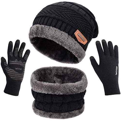 3 Pcs Warm Winter Knit Hat Scarf and Glove Set for Men Women Tech Touchscreen Gloves Black by Maylisacc
