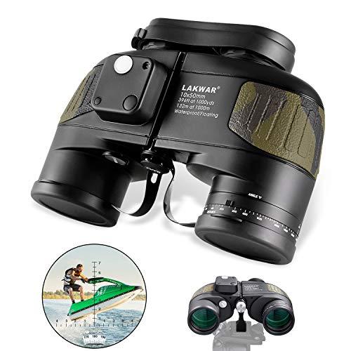 LAKWAR Marine Binoculars 10x50 for Long Distance Compact Binoculars for Adults with Rangefinder Compass High Grade Binoculars BAK4 Prism Waterproof Fogproof for Birdwatching, Hunting
