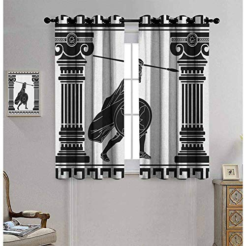 hengshu Toga Party Black Out Window Curtain 2 Panel Black Warrior Silhouette Ready to Attack Between Ancient Ionic Palace Columns for Bed Room Decor Curtain W62 x L84 Inch Black White